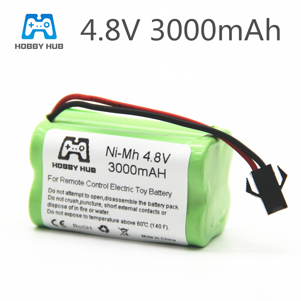1/2/4pcs NI-MH 4.8V 3000mah Rechargeable Battery For RC Cars Ship Tanks Robot 3000 Mah Batteries For RC Toys 4.8 V Battery Group