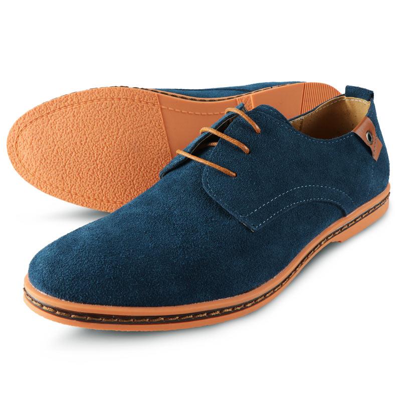 Premium Men Shoes Genuine Leather Flats Male Shoes Adult Man Casual Dress  Formal Black Suede Lace 34730a5e8b68