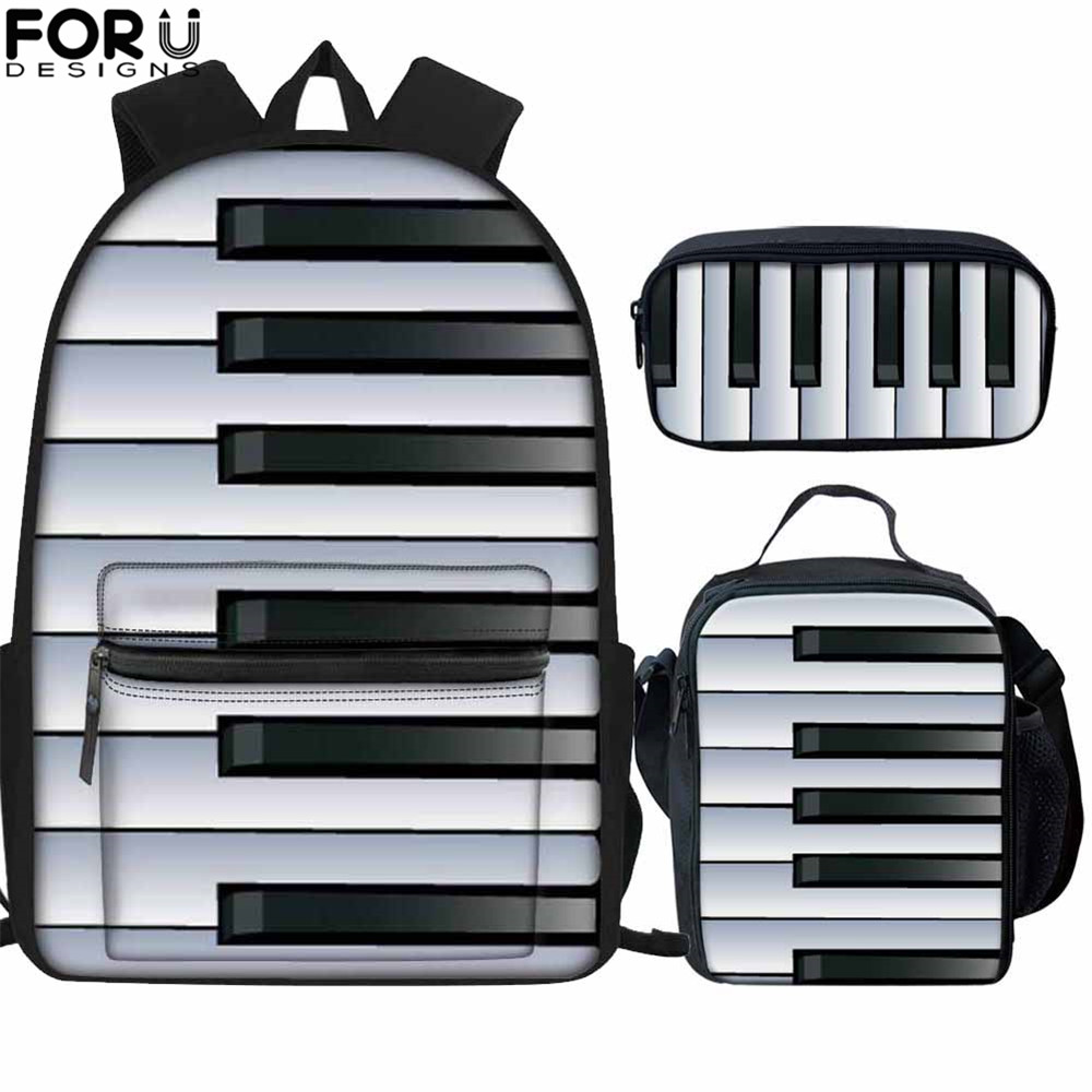 FORUDESIGNS Piano Music Notes Print 3Set School Bags For Girls Women Backpack Schoolbag Child Student Bag Large Capital Book Bag