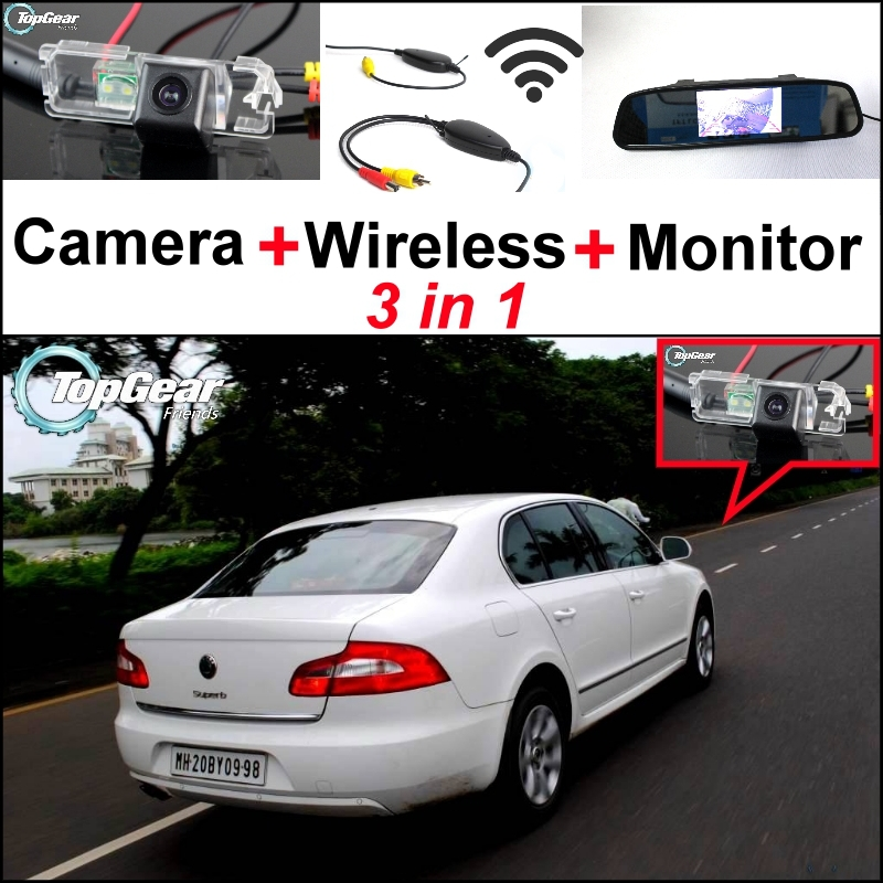 3 in1 Special Rear View Camera + Wireless Receiver + Mirror Monitor DIY Parking System For Skoda Superb B6 Super b 3 T MK2 Rapid wireless pager system 433 92mhz wireless restaurant table buzzer with monitor and watch receiver 3 display 42 call button