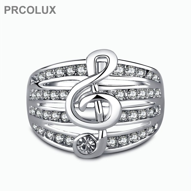 prcolux fashion girl wedding rings for women white cz music note gold color engagement party