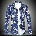 Цветок Мужские Рубашки Платья 2017 Марка Дизайнер Повседневная С Длинным Рукавом хлопок Slim Fit печати Мужчины Рубашка 7XL синий Сорочка Homme одежда