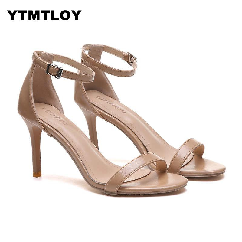 2019 Super High 9CM Thin Heels Women Pumps Ankle Strap Sandals Shoes Woman Ladies Pointed Toe Dress Party  High Heels  Peep Toe