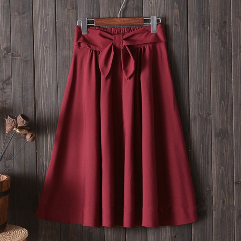 Elegant Women Pleated Skirt Big Bow High Waist Knee Length A Line Skirt Vintage Red Black Side Zipper Skater Skirts