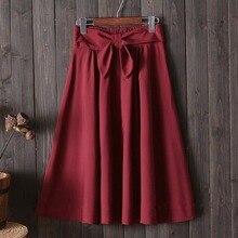 Elegant Women Pleated Skirt Big Bow High Waist Knee Length A Line Skirt