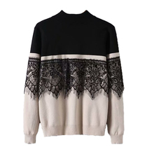 83d529686d90 2019 Elegant Lace Spliced Pullover Sweater Women Round Neck White Knitted  Sweater Long Sleeve Jumper(