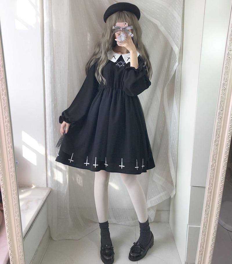 2018 Japanese Soft Sister Preppy Style Harajuku Dark Girl Black Dress JK Uniform Embroidery With Peterpan Collar Women Dress