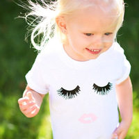 Girls T Shirt 2017 Summer White Cute Eyelash Lips Prited Tops Baby Tees Children Clothing Cotton