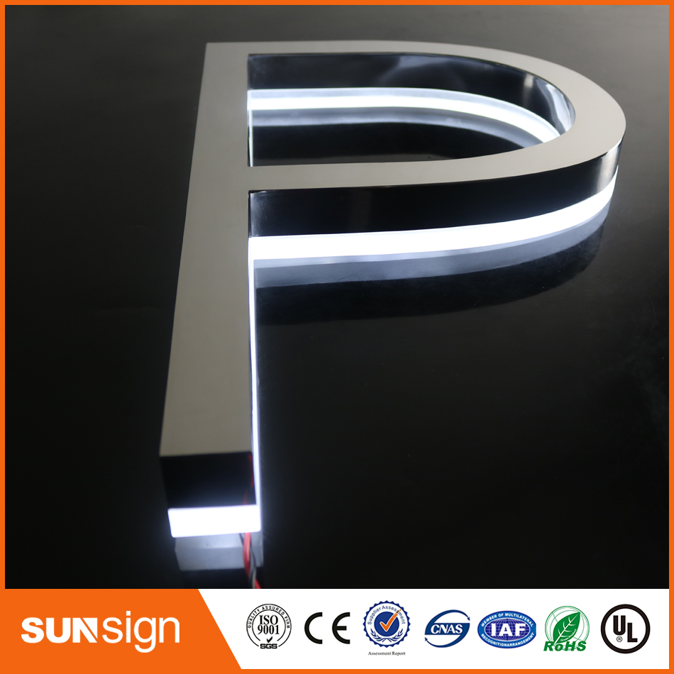 Waterproof Advertising Illuminated Letters Signs 3D Channel Letters Backlit And Front Lit Letters
