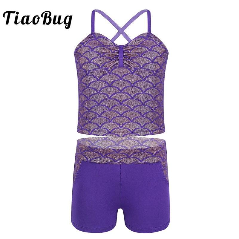 TiaoBug Kids Teens Tankini Spaghetti Straps Mermaid Scales Pattern Swimsuit Children Girls Swimwear Tops Shorts Set Bathing Suit