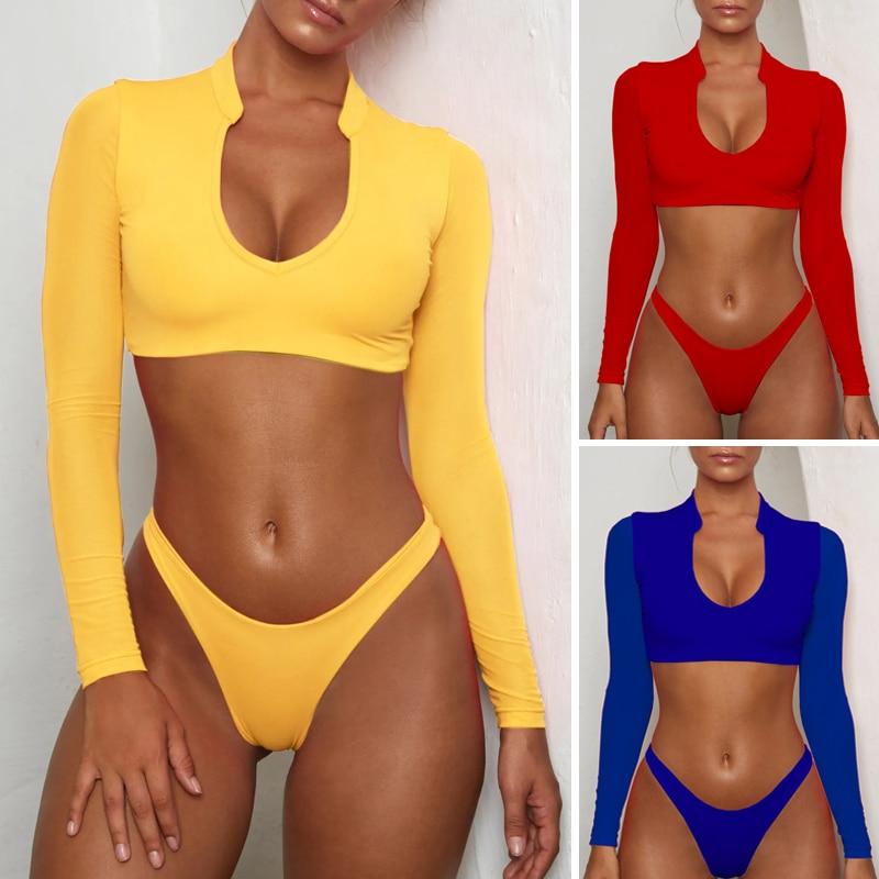 Bikinx Long sleeve brazilian bikini High cut white swimsuit Thong swimwear women bathers Micro bikini 2019 mesh swimming summer
