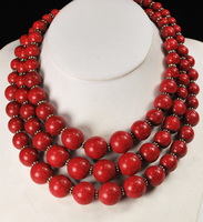 3 Strands Red Magnesite Beads Huge African Silver Necklace 18