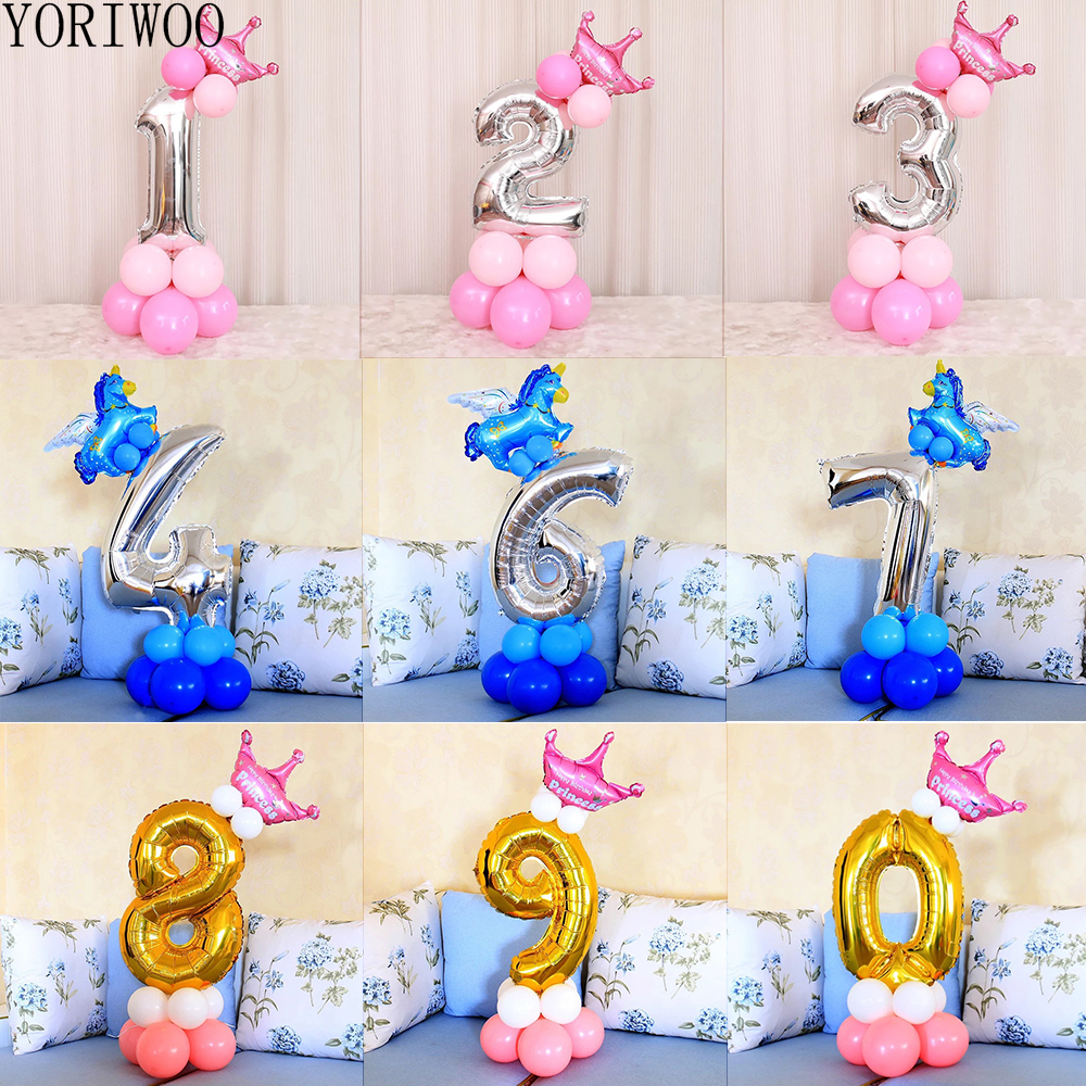 YORIWOO Foil Balloons Numbers 1 2 3 4 5 6 7 8 9 Happy Birthday Balloon 1st Birthday Party Decorations Kids Baby Shower Boy Girl
