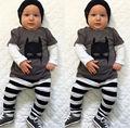 2 ШТ. Весна Симпатичные Пикачу Полосатый Ребенок Устанавливает 6 12 18 24 месяцев Одежды 2016 Младенца Baby Boy майка Брюки Наряд Набор