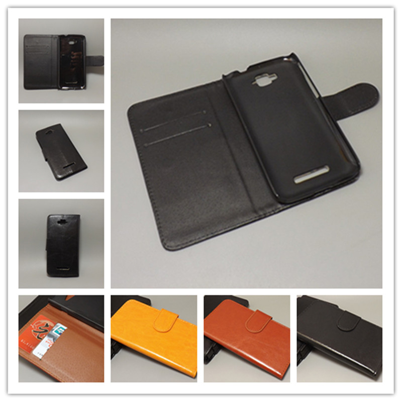 Crazy horse case hold two Cards with 2 Card Holder and pouch slot For Alcatel One Touch  ...