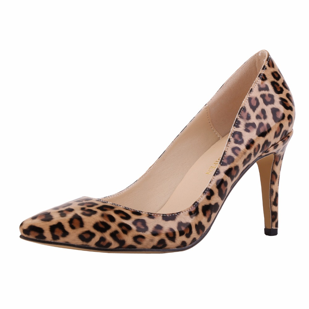 New fashion women pumps pointed toe high heels shoes woman party wedding pu leather ladies heels shoes slip on Leopard 2017 new spring summer shoes for women high heeled wedding pointed toe fashion women s pumps ladies zapatos mujer high heels 9cm