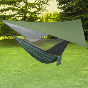 Image 2 - ポータブル屋外のキャンプハンモック蚊帳防水オーニングぶら下げテント睡眠ベッドスイングハンモック 1 2 人