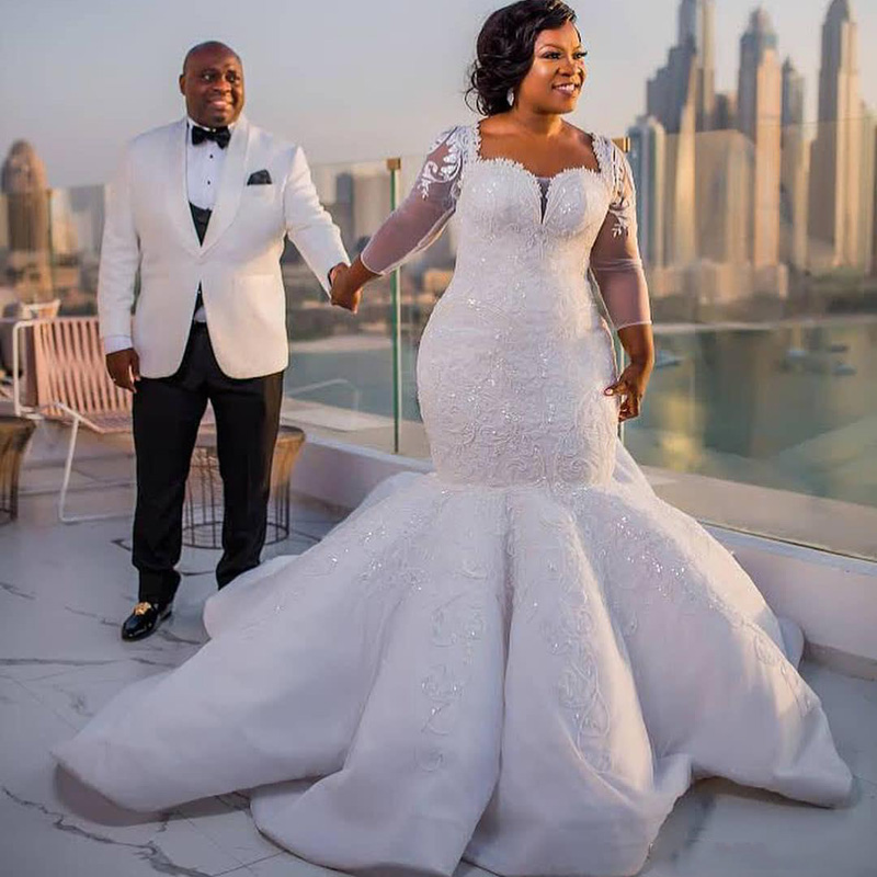 South African Mermaid Wedding Gowns Lace Appliques Plus