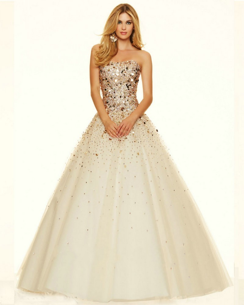 Champagne and Gold Purple Sequins Long Beautiful Prom Dresses Ball ...