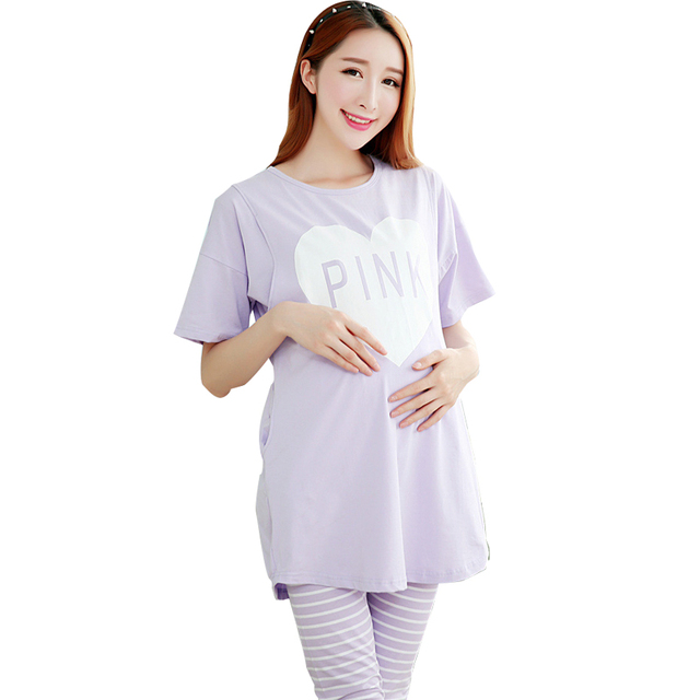 2016 summer maternity nursing nightgowns cotton pregnant pajamas ...