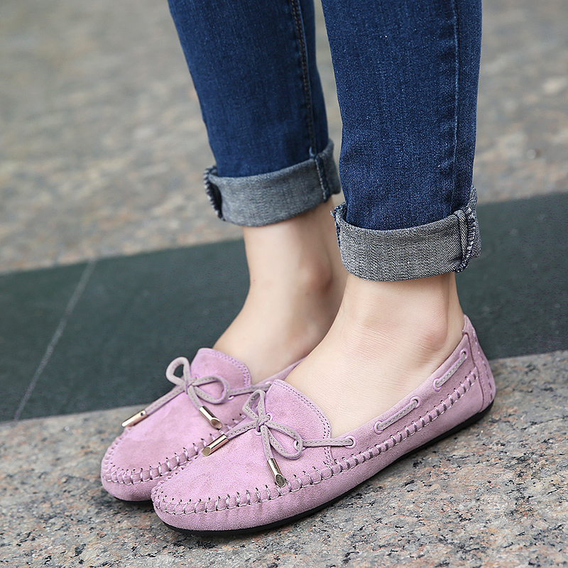 Woman Shoes Flats Soft-Moccasins Spring Casual Summer Bowtie Lady