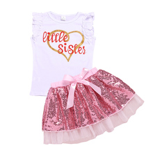 AmzBarley Baby girls clothes set Newborn baby Letter printing shirts sequined tutu skirt Set birthday party Outfits clothing