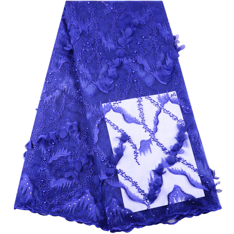 High Quality African Tulle Lace With Velvet 2019 Latest 3D Flower Royal Blue French Net Lace