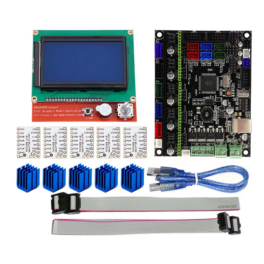 For MKS GEN L Compatible with 12864 LCD Display Support TMC2208 Motor Driver 3D Print Kits SL@88 new style 3d printer accessories mks gen l 12864 lcd display tmc2208 stepper motor driver