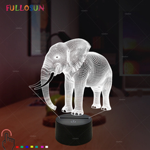 Gift Lights Elephant 3D LED Night Novelty Animal Lamp Colorful Changing Touch Table as Bedroom Decoration