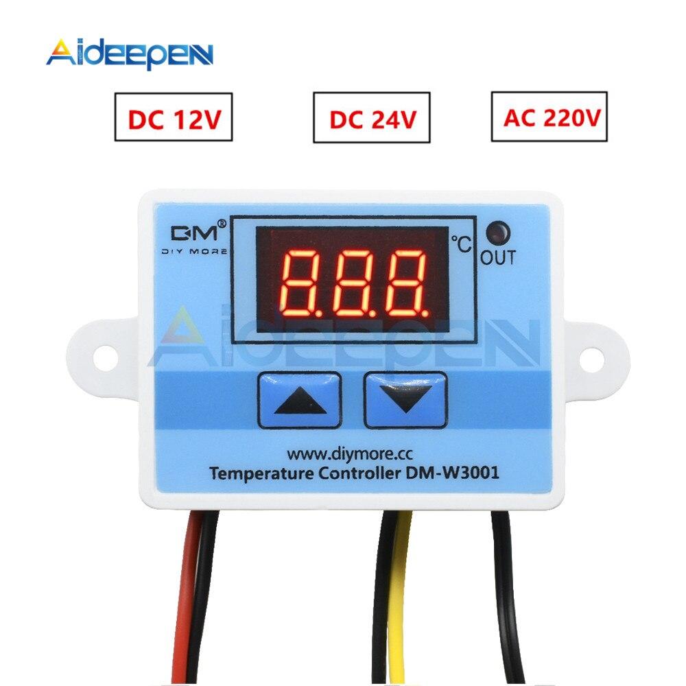 W3001 220V 12V 24V régulateur de température numérique Thermostat thermorégulateur Aquarium incubateur chauffe-eau régulateur de température