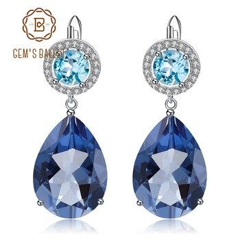 GEM'S BALLET Natural Mystic Quartz Topaz Earrings 925 Sterling Silver Vintage Drop Earrings for Women Wedding Jewelry