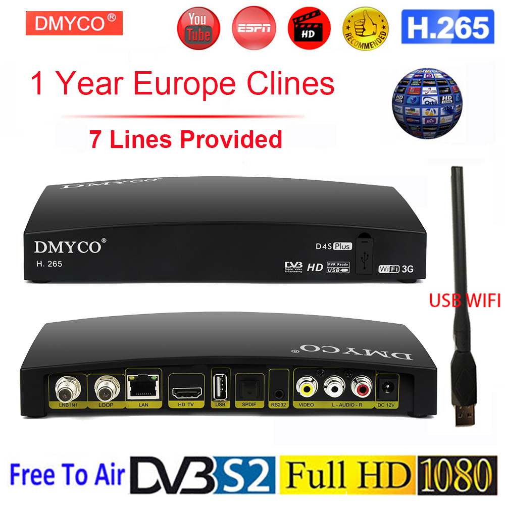 Original DVB S2 TV Receptor Digital Satellite Receiver HD 1080P for 1 Year Spain Europe D4S