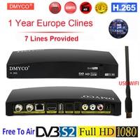 Original DVB S2 TV Receptor Digital Satellite Receiver HD 1080P for 1 Year Spain Europe D4S Plus LNB TV Tuner Decoder +USB Wifi