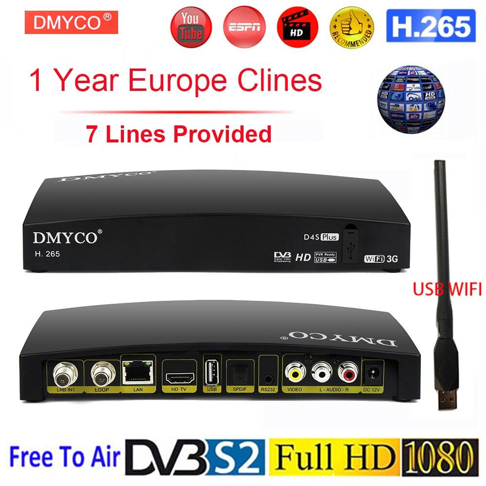 Récepteur Satellite d'origine D4S Plus HD Europe chaînes pour 1 an espagne DVB-S2 récepteur Satellite H.265 TV Tuner décodeur + WIFI