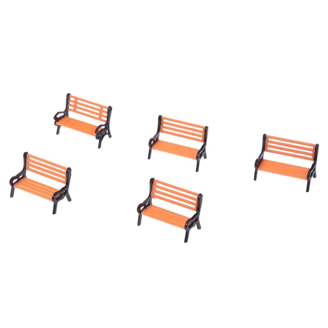 5pcs Model Train Platform Park Street Seats Bench Chair Settee 1: 50 Scale  Courtyard Chairs Railway Modeling