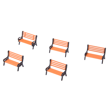 5pcs Model Train Platform Park Street Seats Bench Chair Settee 1: 50 Scale courtyard chairs railway modeling image