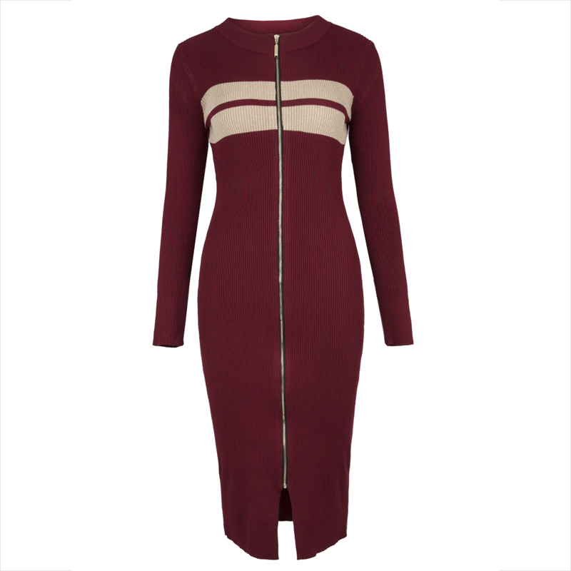 Young17 Autumn Dress Women 2018 Work Dated Red Zipper Sexy Mid-Calf O-Neck Fashion Knitted Work Dress Fall Bodycon Dress рюкзак case logic 17 3 prevailer black prev217blk mid