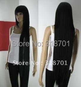(Free Shipping) 33 inch Hi_Temp Series black Long Cosplay DNA Wigs