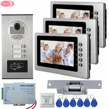 7Inch Video Intercom With 3 Monitors +3 Buttons RFID Access Outdoor Camera Video Door Phone + Electric Strike Lock System Unit