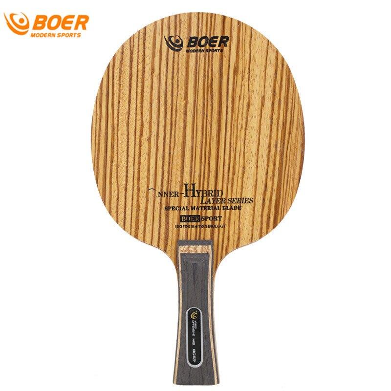 BOER Zebra Table Tennis Bat Base Plate New Genuine Table Tennis Blade (5wood + 2carbon) Ping Pong Racket Base Raquete Fast