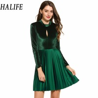 HALIFE Sexy Backless Tunic Dress Women Ladies Rockabilly Long Sleeve Pleated Club Party Clothes Black Green