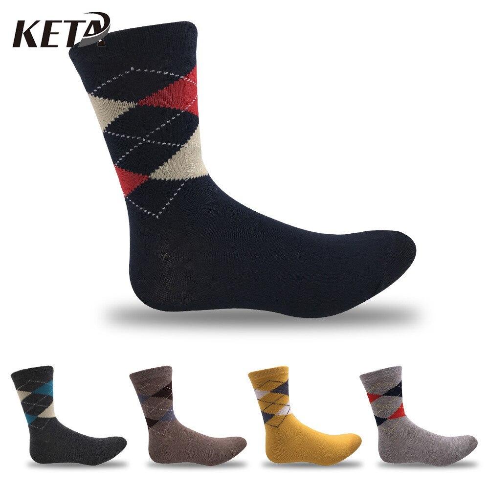KETA Brand Men Socks Cotton Socks For Male Printed Diamond Striped Crew Socks Breathable Classic Sox Business Dress Socks 5Pair