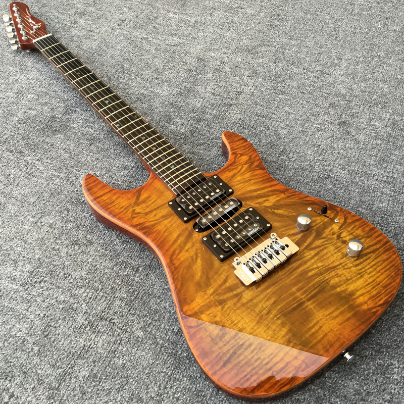 Grote Electric Guitar with Wilkinson Pickup Bridge Locking Tuners Abalone Dot inlays Guitarra body with Koa
