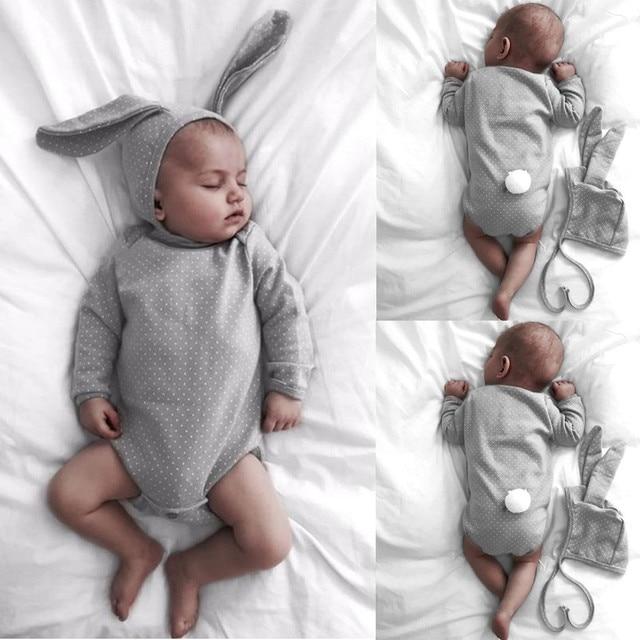 8b7299152bb32 Vente chaude Dot Lapin bébé vêtements mignon Nouveau-Né Infantile Bébé  Fille garçons Barboteuse Salopette