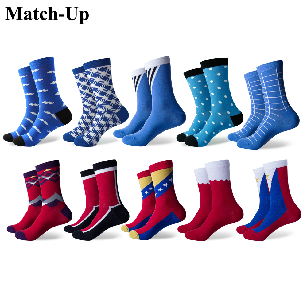 Match Up Men s Funny Colorful Combed Cotton Socks Geometry Style Dress Casual Crew Socks for