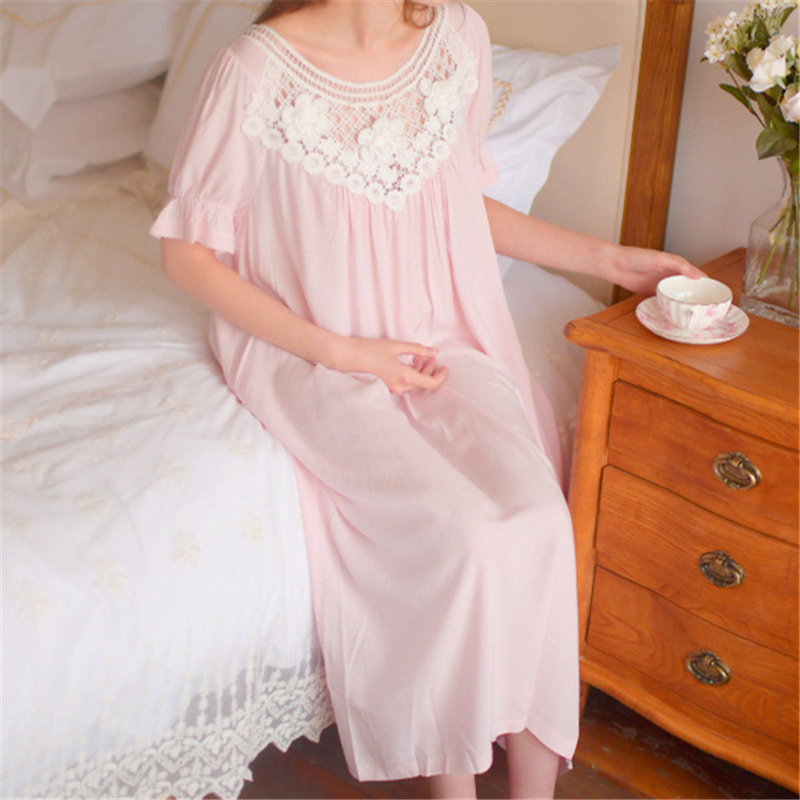 0079a6fa353 Women Sexy Sleepwear Set Plus Size Flare Sleeve Nightgown Long Negligee  Pink Cotton Robe Chemise Vintage Sleepwear Lingerie T4-in Nightgowns    Sleepshirts ...