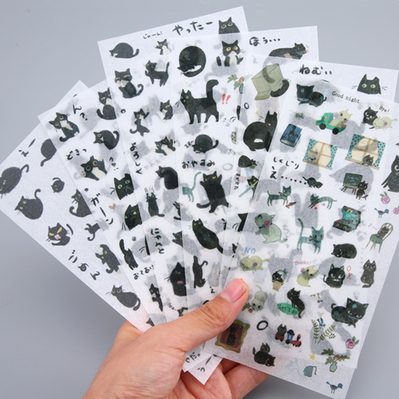 6 Sheets/pack Black Kitty Decorative Stationery Stickers Scrapbooking Diy Diary Album Stick Lable6 Sheets/pack Black Kitty Decorative Stationery Stickers Scrapbooking Diy Diary Album Stick Lable