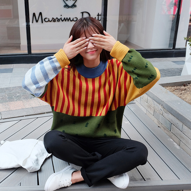 2018 New Winter Fashion Vintage Hit Color Sweater 2