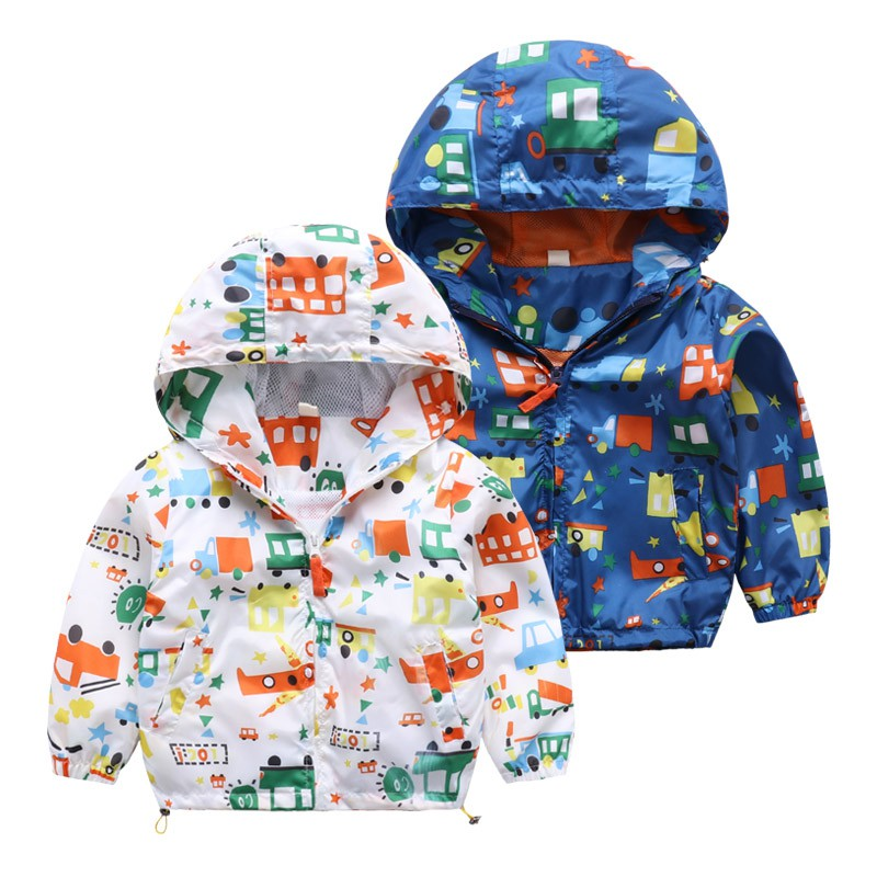 Baby Kids Boys Spring Autumn Jackets Children Hooded Cartoon Shark Printed Hoodies Outerwear Coat