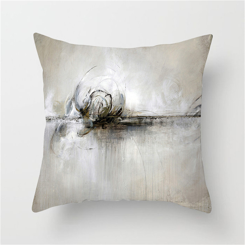 Fuwatacchi Watercolor Painting Cushion Cover Building Castle Pillow Cover White Decorative Pillow Case For Sofa Car Chair Gift